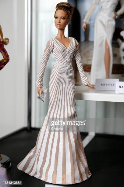 Barbie doll representing actress Jennifer Lopez is displayed during an exhibition dedicated to the Barbie doll at la Nef des jouets  on March 7 2019...