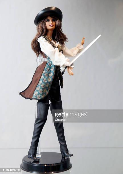 Barbie doll representing actress Penelope Cruz is displayed during an exceptional exhibition dedicated to the Barbie doll at La Nef des jouets on...