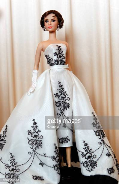 Barbie doll representing Audrey Hepburn is displayed during the exhibition Barbie retro chic at the Musee de la poupee on February 13 in Paris France...