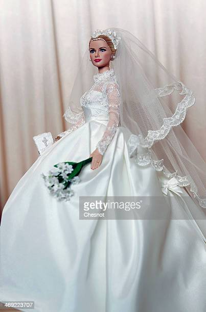 Barbie doll representing Grace Kelly is displayed during the exhibition Barbie retro chic at the Musee de la poupee on February 13 in Paris France...