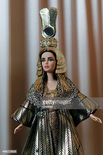 Barbie doll representing Liz Taylor is displayed during the exhibition 'Barbie retro chic' at the 'Musee de la poupee' on February 13 in Paris France...
