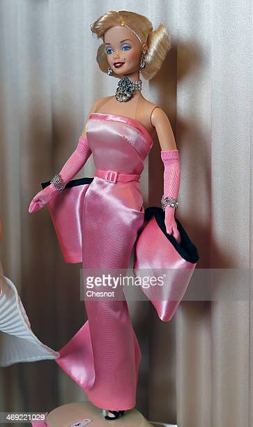 Barbie doll representing Marilyn Monroe is displayed during the exhibition Barbie retro chic at the Musee de la poupee on February 13 in Paris France...
