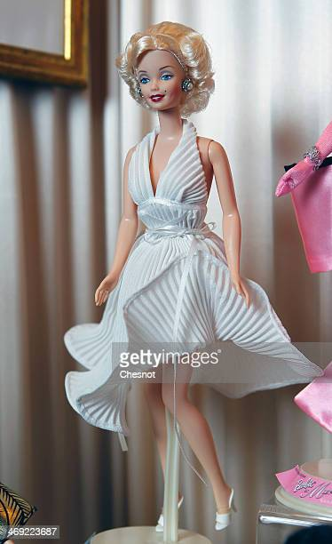 "Barbie doll representing Marilyn Monroe, is displayed during the exhibition ""Barbie retro chic"" at the ""Musee de la poupee"" on February 13 in Paris,..."