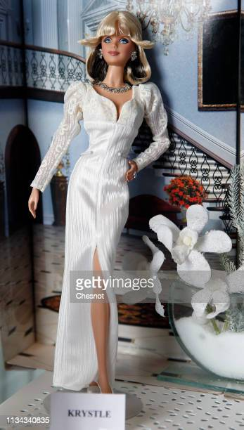 Barbie doll representing US actress Krystle of the Dynasty series is displayed during an exhibition dedicated to the Barbie doll at la Nef des jouets...