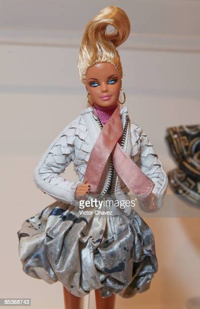 Barbie doll wearing Mexico fahion designers clothes is showcased during the Barbie's 50th Anniversary Exhibition at Museo Franz Mayer on March 9 2009...