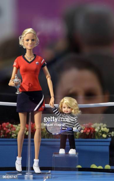 Barbie dolls depicting tennis player Kim Clijsters and her daughter Jada of Belgium are displayed during the International Toy Fair on February 4...