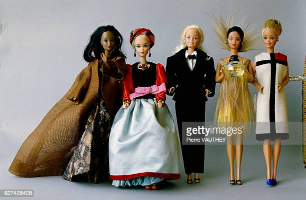 Barbie dolls from the collection of Barbie aficionado Billy Boy wear outfits designed by Yves Saint Laurent