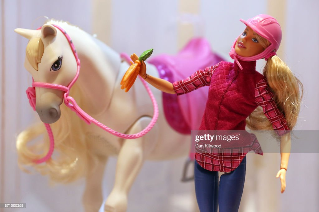 A Barbie toy is displayed during a media event announcing the top 12 toys for christmas at St Mary's Church in Marylebone on November 8, 2017 in London, England. The Toy Retailers Association's Dream Toys chart, is an independent list of the predicted Christmas best-selling gifts for children.
