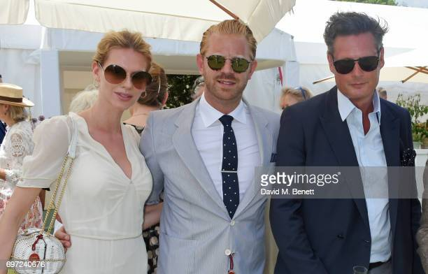 Barbora Bediova Alistair Guy and Percy Parker attend the Cartier Queen's Cup Polo final at Guards Polo Club on June 18 2017 in Egham England