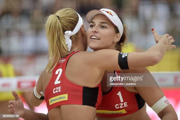 Barbora Hermannova and Marketa Slukova of Czech Republic in action during the main draw match against Barbara Seixas and Fernanda Alves of Brazil at...