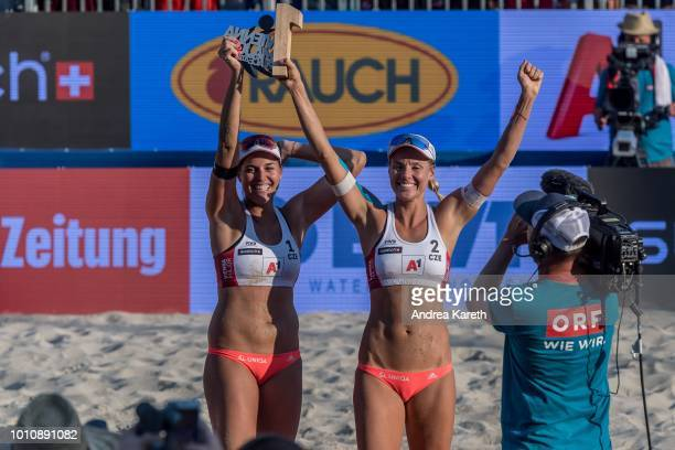 Barbora Hermannova of Czech Republic and Marketa Slukova of Czech Republic celebrate the trophy during the women's award ceremony on day four of the...