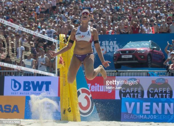 Barbora Hermannova of Czech Republic celebrates the victory of the womens semifinale between Barbora Hermannova of Czech Republic and Marketa Slukova...