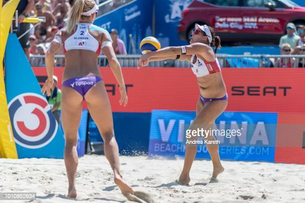 Barbora Hermannova of Czech Republic digs the ball during the semifinal match between Barbora Hermannova and Marketa Slukova of Czech Republic and...