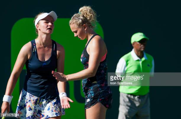 Barbora Krejcikova and Katerina Siniakova in action on Day 14 the Womens Doubles Final of the Miami Open Presented by Itau at Crandon Park Tennis...