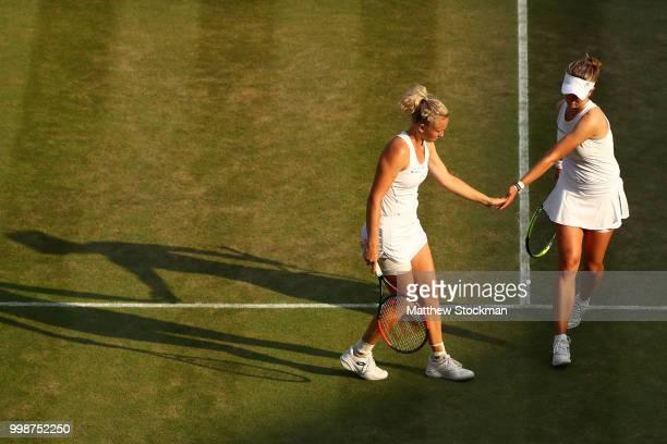 Barbora Krejcikova and Katerina Siniakova of Czech Republic celebrate a point against Nicole Melichar of The United States and Kveta Peschke of Czech...