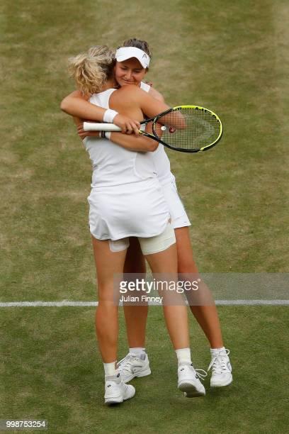 Barbora Krejcikova and Katerina Siniakova of Czech Republic celebrate their victory against Nicole Melichar of The United States and Kveta Peschke of...