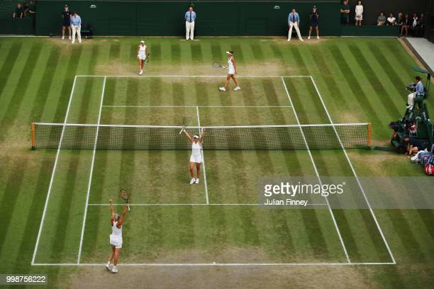 Barbora Krejcikova and Katerina Siniakova of Czech Republic celebrate match point against Nicole Melichar of The United States and Kveta Peschke of...
