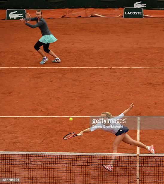 Barbora Krejcikova and Katerina Siniakova of Czech Republic in action during the Ladies Doubles semi final match against Ekaterina Makarova and Elena...