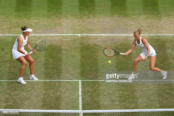 Barbora Krejcikova and Katerina Siniakova of Czech Republic in action against Nicole Melichar of The United States and Kveta Peschke of Czech...