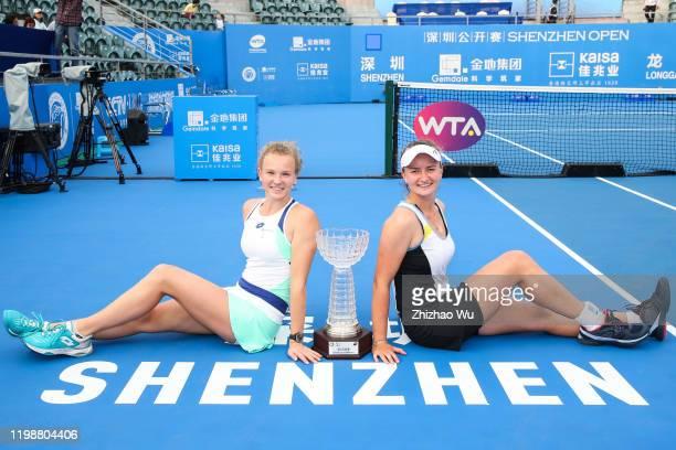 Barbora Krejcikova and Katerina Siniakova of Czech, winners of the women's doubles final match attend the award ceremony on day 7 of the 2020 WTA...