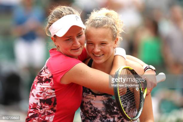 Barbora Krejcikova and Katerina Siniakova of the Czech Republic celebrate victory following the ladies doubles final against Eri Hozumi and Makoto...