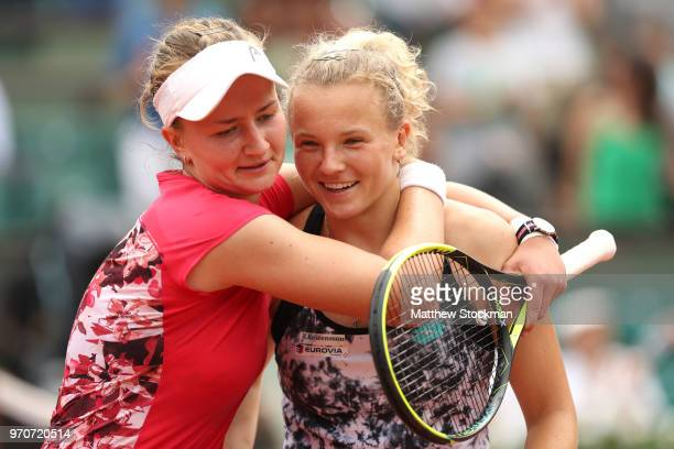 Barbora Krejcikova and Katerina Siniakova of the Czech Republic celebrate victory following the ladies doubles final against Eri Hozumi and Makoto...