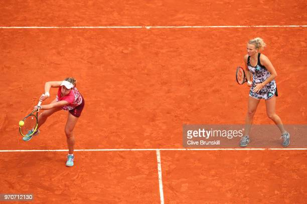 Barbora Krejcikova and Katerina Siniakova of the Czech Republic return the ball during the ladies doubles final against Eri Hozumi and Makoto...