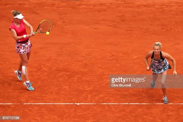 Barbora Krejcikova and Katerina Siniakova of the Czech Republic return the ball during the ladies doubles final against Eri Hozumi and Makoto...