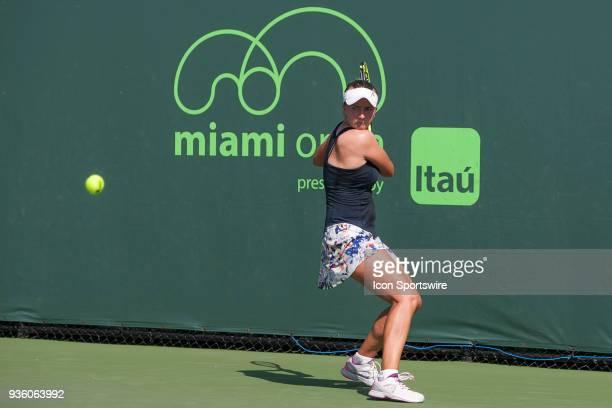 Barbora Krejcikova competes during the qualifying round of the 2018 Miami Open on March 20 at Tennis Center at Crandon Park in Key Biscayne FL