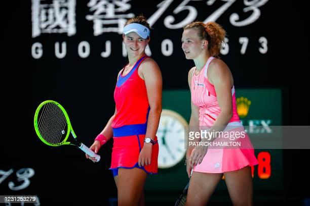 Barbora Krejcikova, Katerina Siniakova pictured in action during a tennis match between Belgian-Belarussian pair Mertens-Sabalenka and Czech pair...