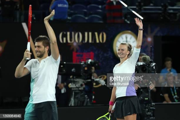 Barbora Krejcikova of Czech Republic and Nikola Mektic of Croatia celebrate winning their Mixed Doubles Finals match against Bethanie Mattek-Sands of...