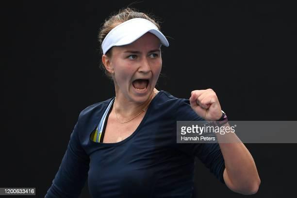 Barbora Krejcikova of Czech Republic celebrates after winning a point during her Women's Singles first round match against Kaia Kanepi of Estonia on...