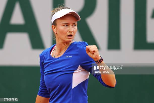 Barbora Krejcikova of Czech Republic celebrates after winning a point during her Women's Singles third round match against Tsvetana Pironkova of...