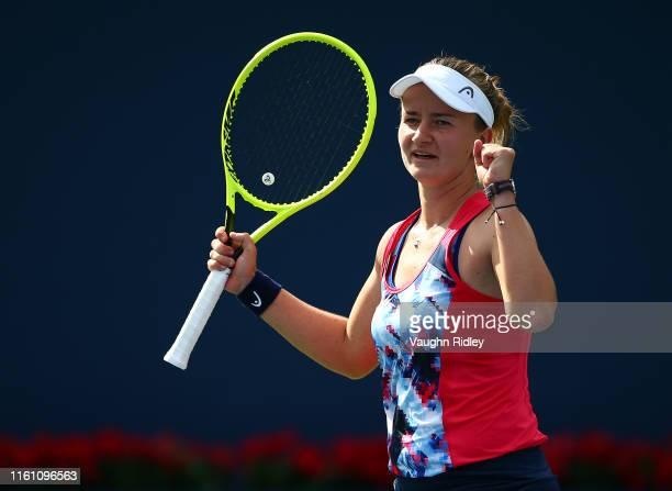Barbora Krejcikova of Czech Republic celebrates victory following the final doubles match with her partner Katerina Siniakova against Demi Schures of...