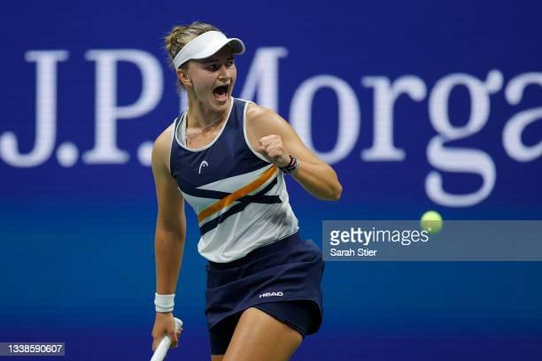 Barbora Krejcikova of Czech Republic celebrates winning a set against Garbine Muguruza of Spain during their Women's Singles fourth round match on...
