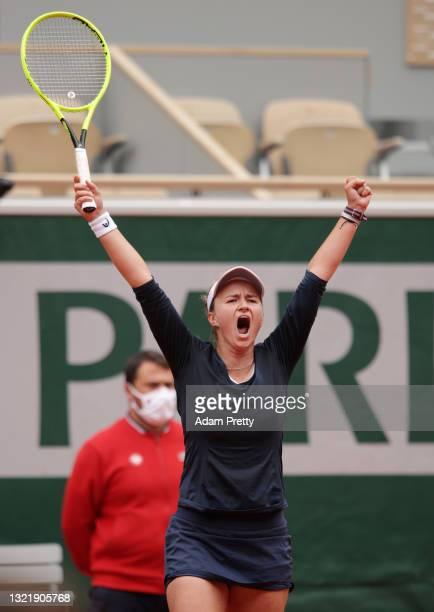 Barbora Krejcikova of Czech Republic celebrates winning match point during her Women's Singles third round match against Elina Svitolina of Ukraine...