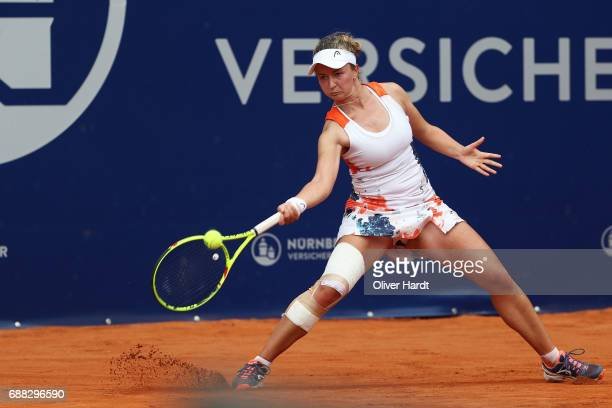 Barbora Krejcikova of Czech Republic in action against Carina Witthoeft of Germany in the quarter final during the WTA Nuernberger Versicherungscup...