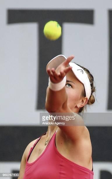 Barbora Krejcikova of Czech Republic in action against Dalila Jakupovic of Slovenia during the TEB BNP Paribas Istanbul Cup match at Garanti Koza...