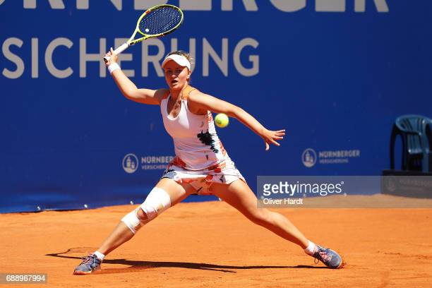 Barbora Krejcikova of Czech Republic in action against Kiki Bertens of Netherlands in the final match during the WTA Nuernberger Versicherungscup on...