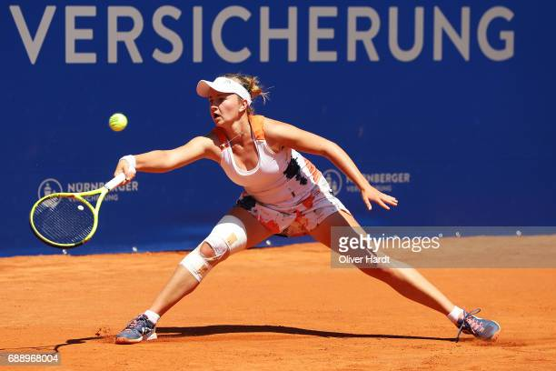 Barbora Krejcikova of Czech Republic in action against Kiki Bertens of Netherlands in the final match during the WTA Nuernberger Versicherungscup on...