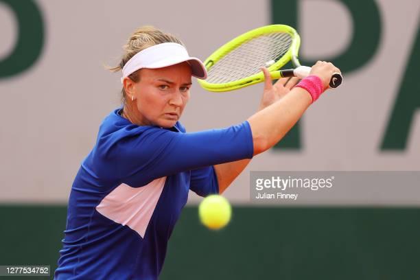 Barbora Krejcikova of Czech Republic plays a backhand during her Women's Singles second round match against Barbora Strycova of Czech Republic on day...