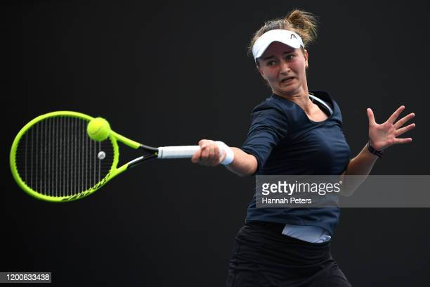 Barbora Krejcikova of Czech Republic plays a forehand during her Women's Singles first round match against Kaia Kanepi of Estonia on day one of the...