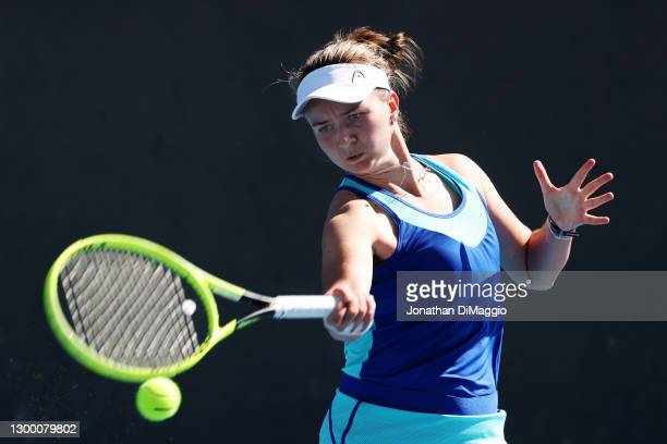 Barbora Krejcikova of Czech Republic plays a forehand in her singles match against Lauren Davis of the United States during day one of the WTA 500...