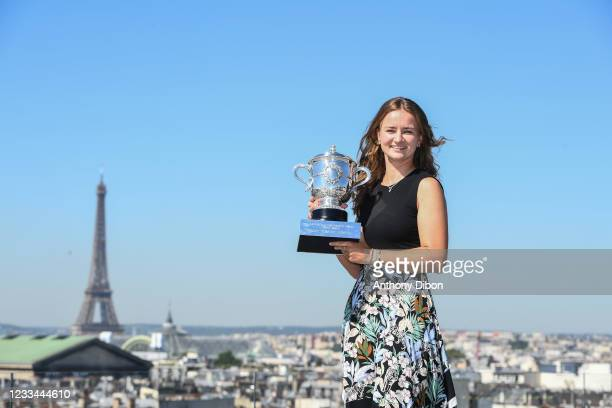 Barbora KREJCIKOVA of Czech Republic poses with the trophy during the photoshoot for the victory at Roland Garros on June 14, 2021 in Paris, France.