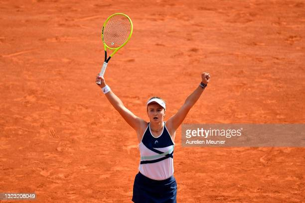 Barbora Krejcikova of Czech Republic reacts after winning the Women's final against Anastasia Pavlyuchenkova of Russia on day fourteen of the 2021...
