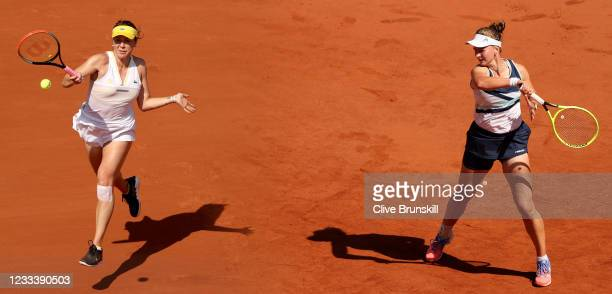 Barbora Krejcikova of Czech Republic returns a forehand during her Ladies Singles Quarter-Final match against Coco Gauff of The United States on Day...