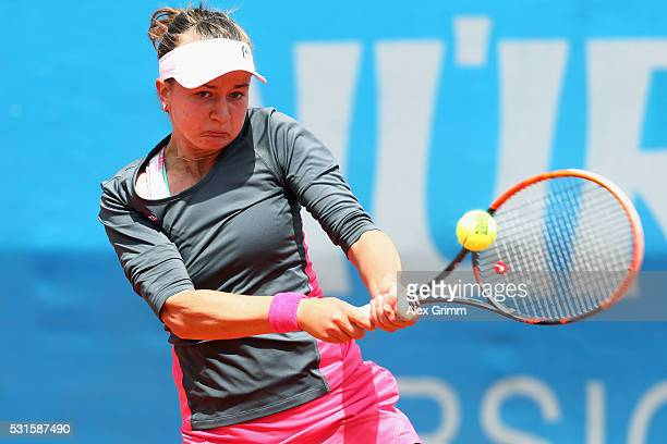 Barbora Krejcikova of Czech Republic returns the ball to JiaJing Lu of China during Day Two of the Nuernberger Versicherungscup 2016 on May 15 2016...