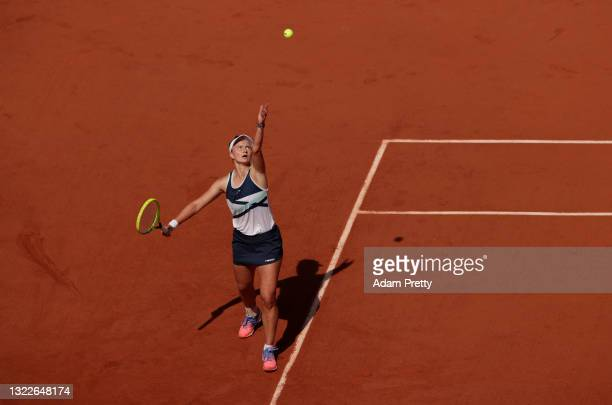 Barbora Krejcikova of Czech Republic serves during her Ladies Singles Quarter-Final match against Coco Gauff of The United States on Day Eleven of...