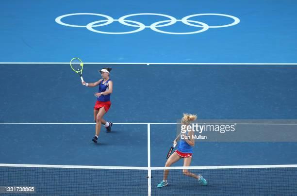 Barbora Krejcikova of Team Czech Republic and Katerina Siniakova of Team Czech Republic play Belinda Bencic of Team Switzerland and Viktorija Golubic...