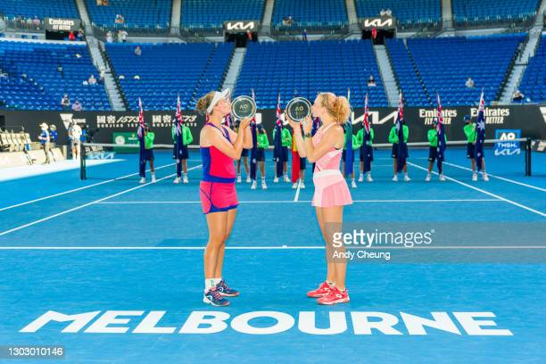 Barbora Krejcikova of the Czech Republic and Katerina Siniakova of the Czech Republic pose with their runners up trophies after their Women's...
